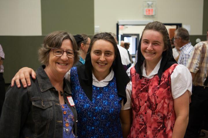 Linda Enns, Janelle Waldnerand Jessica Mandel at the 2019 harvest celebrationat Silverwinds Colony near Sperling.