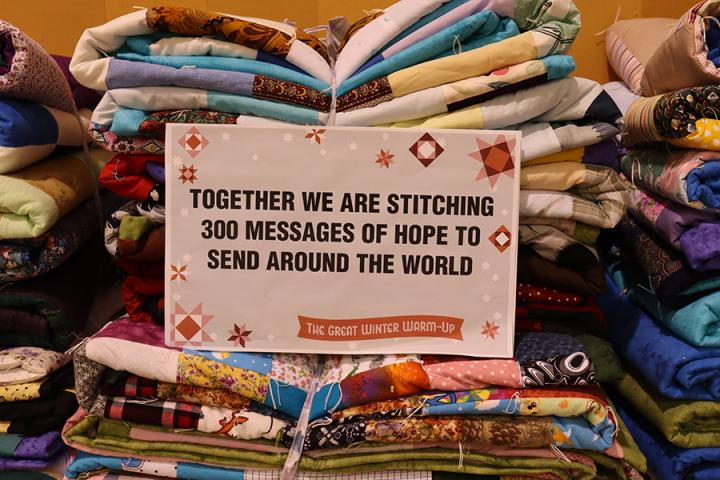 Together we are stitching messages of hope to send around the world.