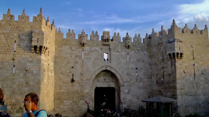 Damascus Gate on the north side of the Old City of Jerusalem.