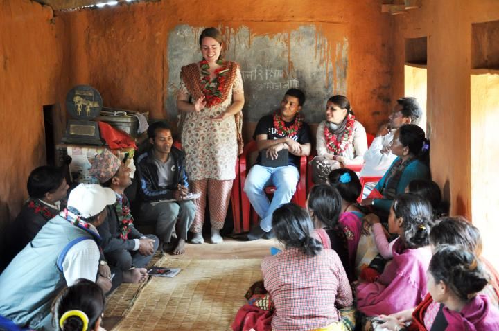 Katrina Labunan, an MCC SALT participant serving in Kathmandu, Nepal, visiting a peer support group for people living with HIV.