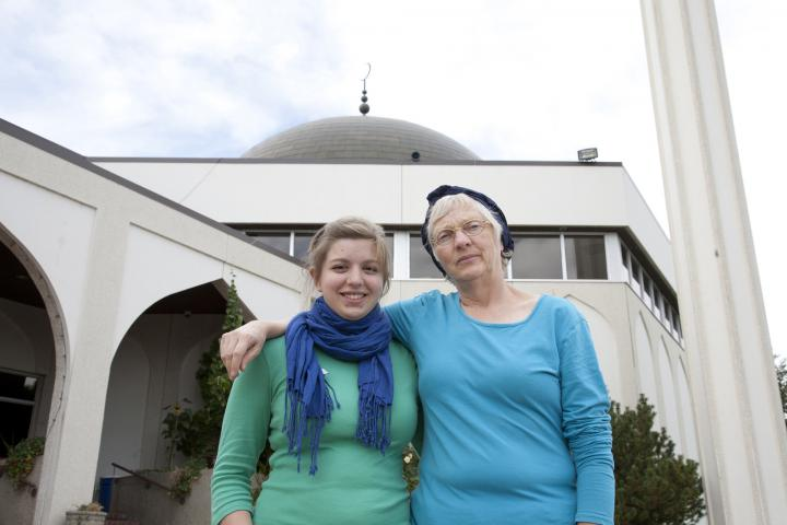 Miriam Gross (left) and Donna Entz at Al Rashid Mosque in Edmonton, Alberta. Entz is with Mennonite Church Alberta, and Gross is an intern with Mennonite Central Committee in Alberta. The two organizations are supporting an outreach program in North Edmonton, which connects Mennonite and Muslim communities.