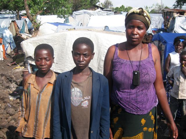 Mbonye Buhunda, 38, her husband and their six children, including Mapenli, 11 and Ishara, 13, pictured, have been displaced repeatedly.