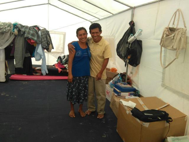 Maria Justa Ipanaque and Ezequiel Ramos Sánchez in a tent