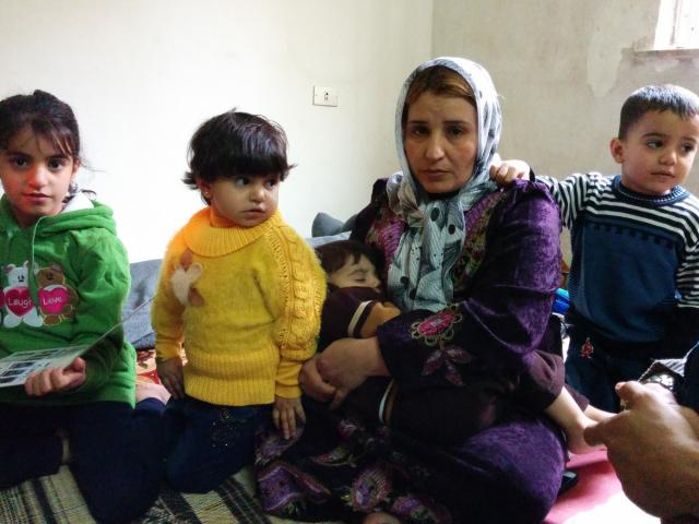 Hannah and her eight children are Syrian refugees who came to Jordan in January 2014.