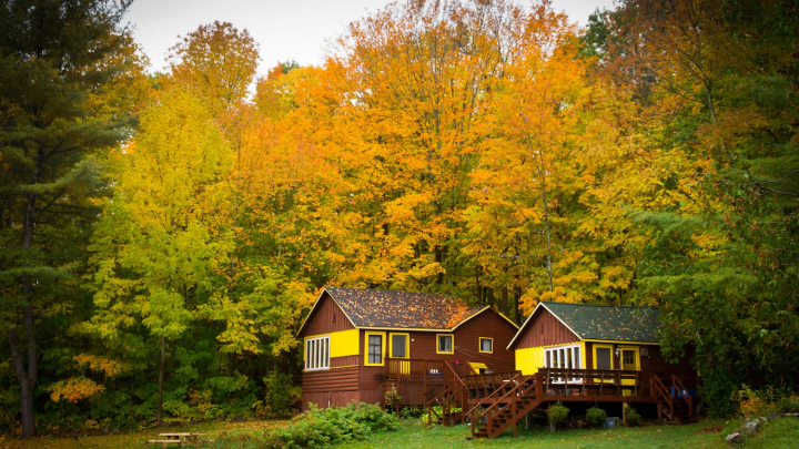 Photo of cabin with fall foliage around it